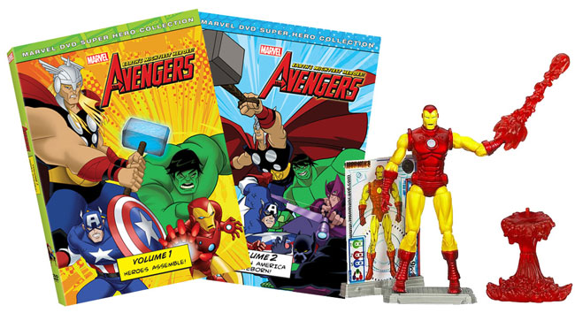 avengers dvd set and iron man action figure